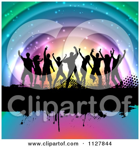 Clipart Of Silhouetted Dancers On A Grunge Bar Over Colorful Arches - Royalty Free Vector Illustration by KJ Pargeter