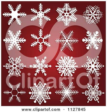 Clipart Of White Snowflake Designs On Gradient Red - Royalty Free Vector Illustration by KJ Pargeter