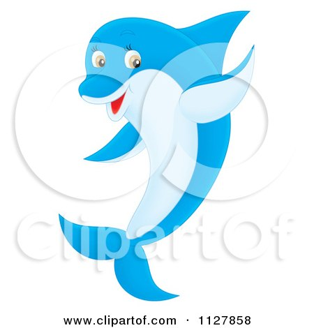 Cartoon Of A Blue Cute Dolphin Jumping And Waving - Royalty Free Clipart by Alex Bannykh