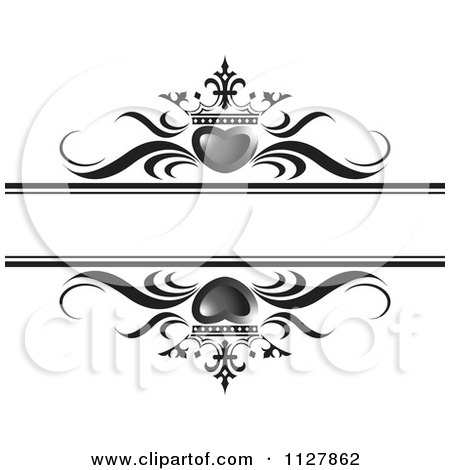 Clipart Of Gray Crowned Hearts And Waves With Copyspace - Royalty Free Vector Illustration by Lal Perera