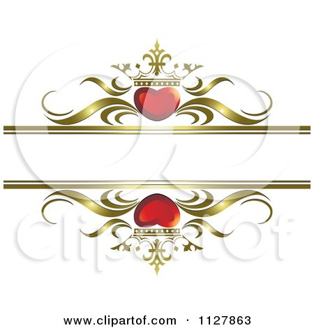 Clipart Of Red Crowned Hearts And Gold Waves With Copyspace 1 - Royalty Free Vector Illustration by Lal Perera