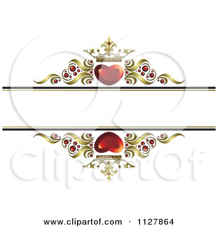 Clipart Of Red Crowned Hearts And Gold Waves With Copyspace 2 - Royalty Free Vector Illustration by Lal Perera