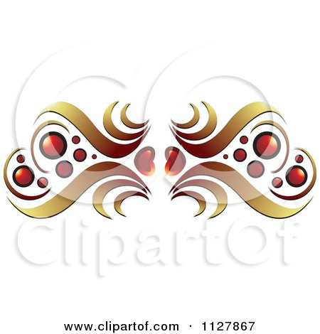 Clipart Of Red Hearts And Gold Waves Border - Royalty Free Vector Illustration by Lal Perera