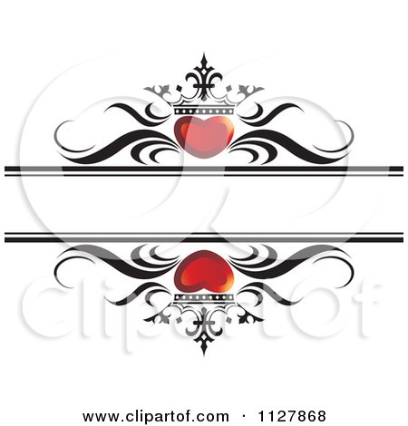 Clipart Of Red Crowned Hearts And Waves With Copyspace - Royalty Free Vector Illustration by Lal Perera