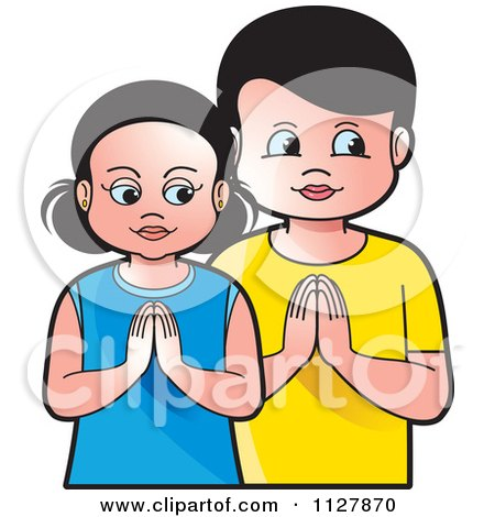 Clipart Of A Boy And Girl Praying - Royalty Free Vector Illustration by Lal Perera