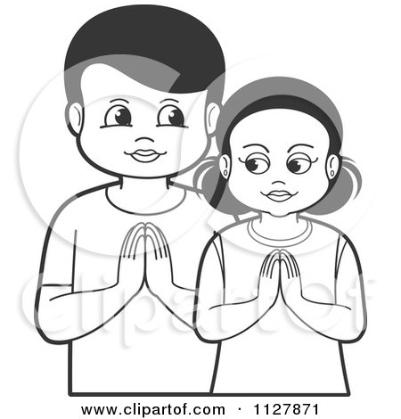 Clipart Of A Black And White Boy And Girl Praying - Royalty Free Vector Illustration by Lal Perera
