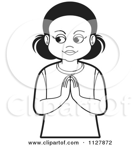 Clipart Of A Black And White Girl Praying - Royalty Free Vector Illustration by Lal Perera