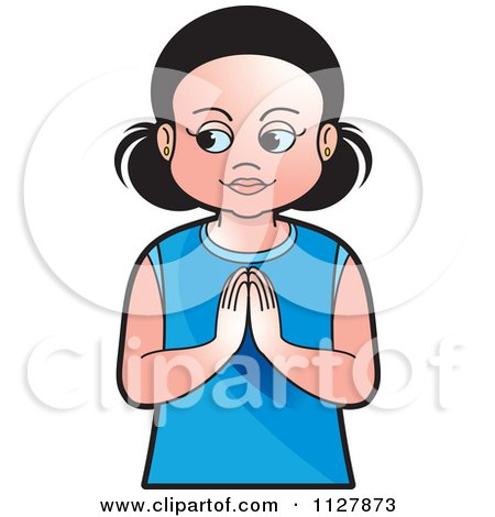 Clipart Of A Girl Praying - Royalty Free Vector Illustration by Lal Perera