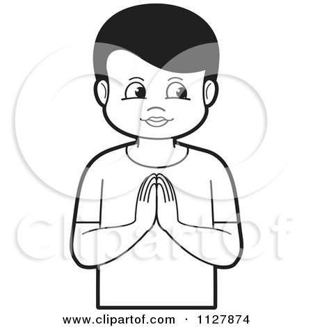 Clipart Of A Black And White Boy Praying - Royalty Free Vector Illustration by Lal Perera