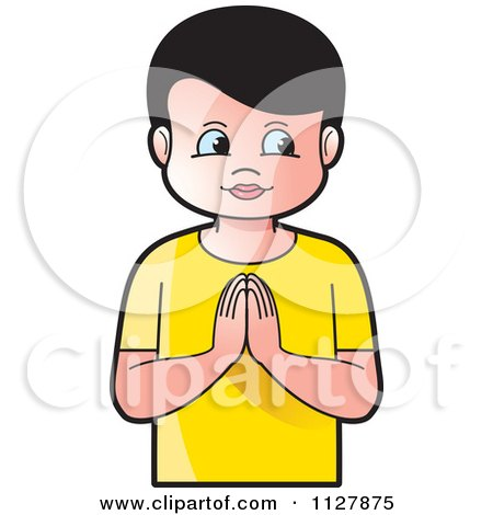 Clipart Of A Boy And Girl Praying - Royalty Free Vector ...
