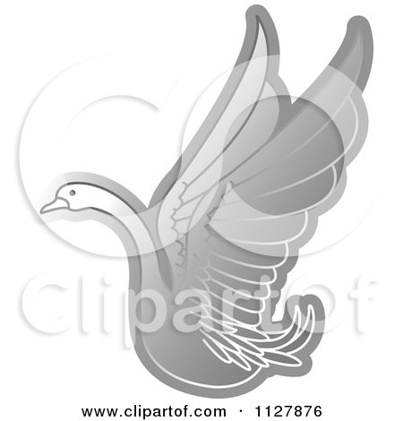 Clipart Of A Silver Swan Flying - Royalty Free Vector Illustration by Lal Perera
