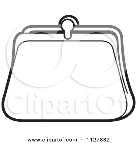 Clipart Of A Black And White Coin Purse Royalty Free