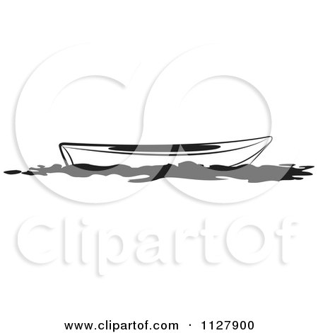 Clipart Of A Black And White Kayak - Royalty Free Vector Illustration by Lal Perera