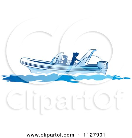 Clipart Of Silhouetted Women Fishing From A Boat 3 - Royalty Free Vector Illustration by Lal Perera