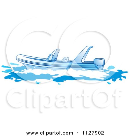 Clipart Of A Boat In Blue Tones 2 - Royalty Free Vector Illustration by Lal Perera