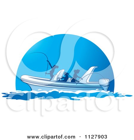 Clipart Of Silhouetted Women Fishing From A Boat 2 - Royalty Free Vector Illustration by Lal Perera