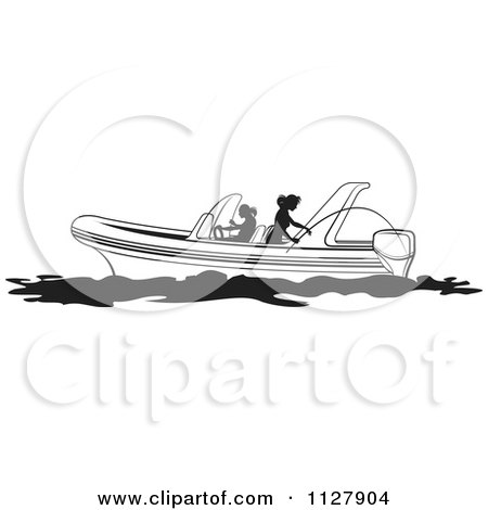 Clipart Of Silhouetted Black And White Women Fishing From A Boat - Royalty Free Vector Illustration by Lal Perera
