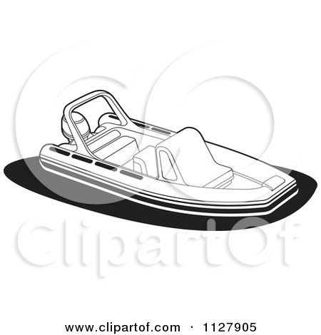 Clipart Of A Black And White Recreational Boat - Royalty Free Vector Illustration by Lal Perera