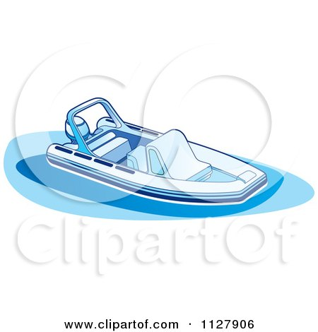 Clipart Of A Boat In Blue Tones 1 - Royalty Free Vector Illustration by Lal Perera