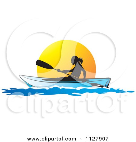 Clipart Of A Silhouetted Woman Kayaking At Sunset - Royalty Free Vector Illustration by Lal Perera
