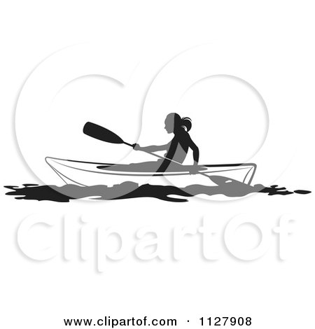 Clipart Of A Black And White Silhouetted Woman Kayaking - Royalty Free Vector Illustration by Lal Perera