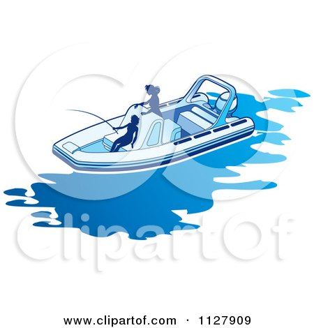 Clipart Of Silhouetted Women Fishing From A Boat 1 - Royalty Free Vector Illustration by Lal Perera
