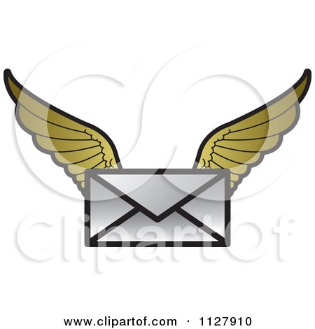 Clipart Of A Letter Envelope With Gold Wings - Royalty Free Vector Illustration by Lal Perera