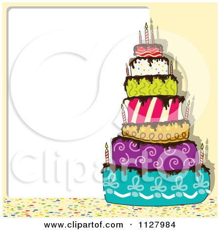 Clipart Of A Funky Colorful Birthday Cake And Copyspace ...