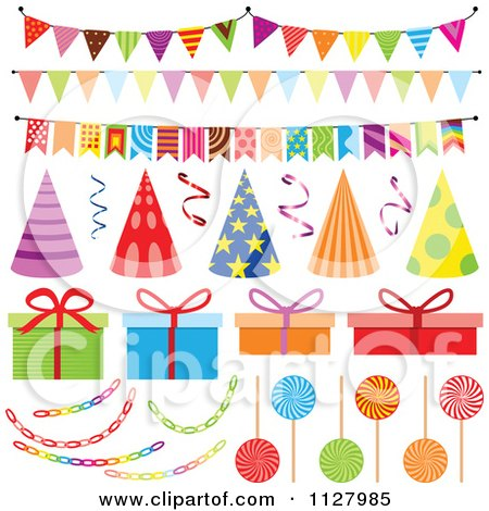 Clipart Of Colorful Birthday Party Hats Decorations And
