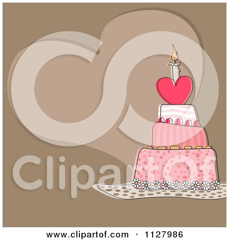 Clipart Of A Heart Birthday Cake And Copyspace On Brown - Royalty Free Vector Illustration by dero