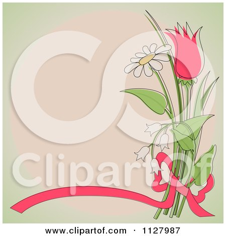 Clipart Of A Ribbon And Flower Background With Copyspace - Royalty Free Vector Illustration by dero