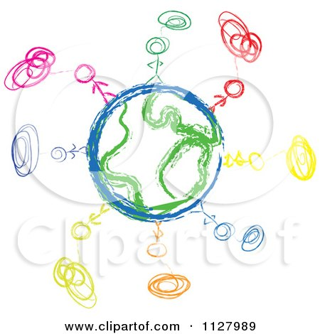 Clipart Of A Sketched Diverse People And Globe Doodle - Royalty Free Vector Illustration by MacX