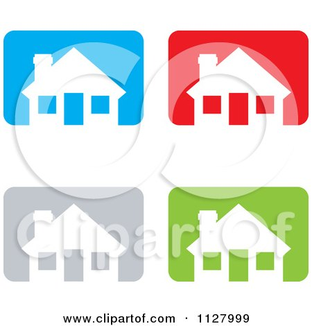 Clipart Of White Houses Over Colorful Rectangles Icons - Royalty Free Vector Illustration by michaeltravers