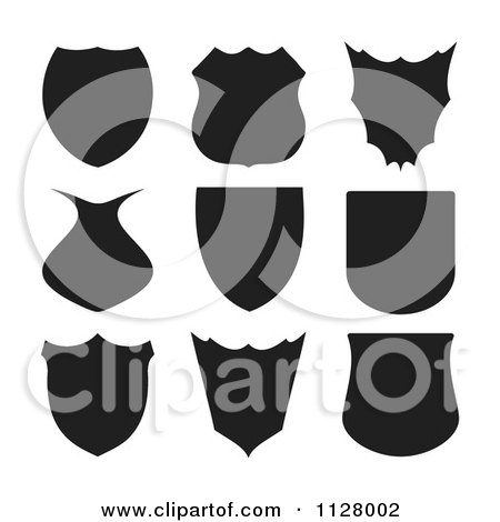 Clipart Of Black Shield Silhouettes - Royalty Free Vector Illustration by michaeltravers