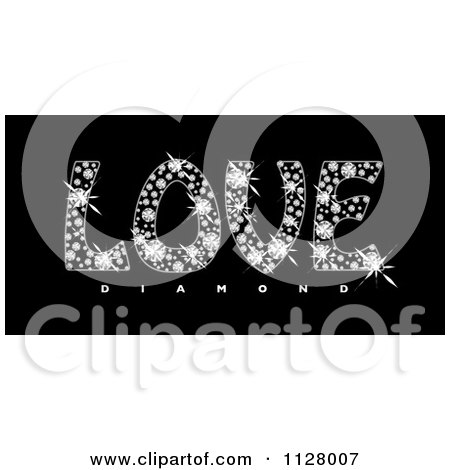 Clipart Of Sparkly Love Diamond Text On Black - Royalty Free Vector Illustration by michaeltravers