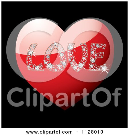 Clipart Of The Word Love In Diamonds On A Red Heart Over Black - Royalty Free Vector Illustration by michaeltravers