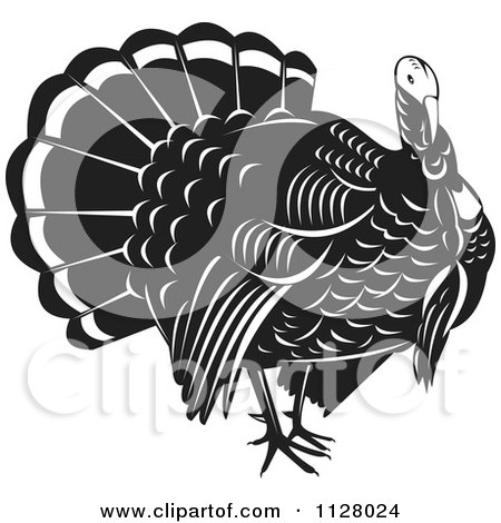 Clipart Of A Black And White Thanksgiving Turkey Bird - Royalty Free Vector Illustration by patrimonio
