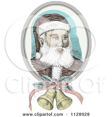 Clipart Of A Retro Engraved Santa Face With Christmas Bells - Royalty Free Vector Illustration by patrimonio