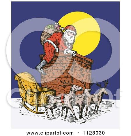 Clipart Of A Retro Santa Climbing A Chimney On Christmas Eve - Royalty Free Vector Illustration by patrimonio