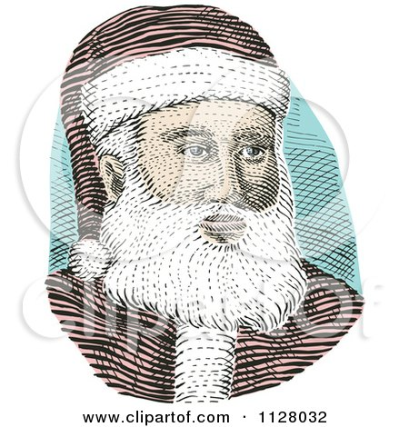 Clipart Of A Retro Engraved Santa Face - Royalty Free Vector Illustration by patrimonio