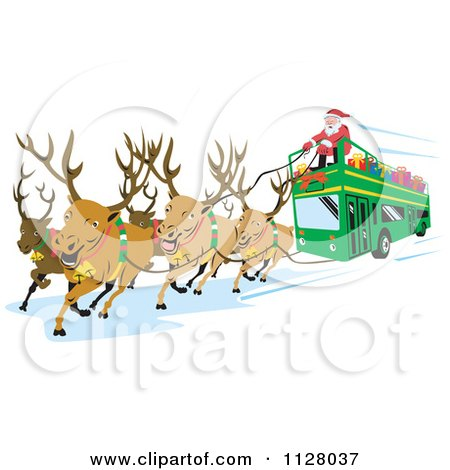 Clipart Of Christmas Reindeer Pulling A Santa Bus - Royalty Free Vector Illustration by patrimonio
