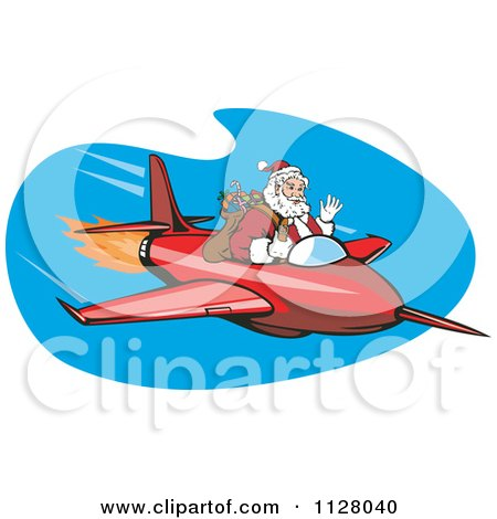 Cartoon Of A Christmas Santa Claus Flying A Jet - Royalty Free Vector Clipart by patrimonio