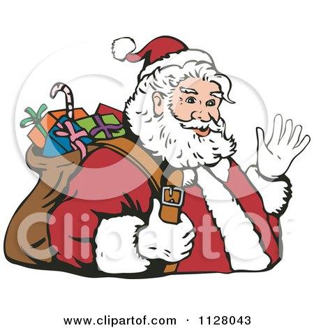 Cartoon Of A Christmas Santa Claus Carrying A Bag And Waving - Royalty Free Vector Clipart by patrimonio