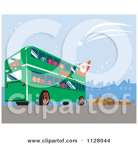 Cartoon Of A Christmas Santa Claus Waving From A Bus Pulled By Reindeer - Royalty Free Vector Clipart by patrimonio