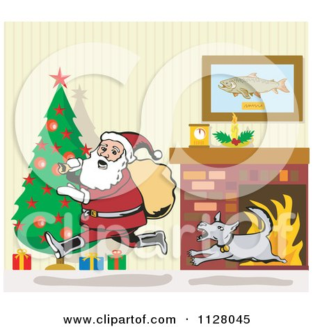 Cartoon of a dog chasing santa through a living room on Photoshop santa in your living room free