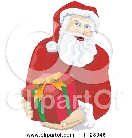Cartoon Of A Christmas Santa Claus Holding Out A Gift Box - Royalty Free Vector Clipart by patrimonio