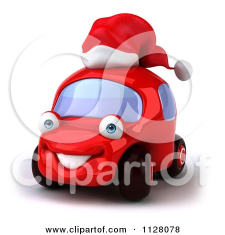 f72ff6490f4ca Clipart Of A 3d Red Car Wearing A Christmas Santa Hat - Royalty Free CGI  Illustration