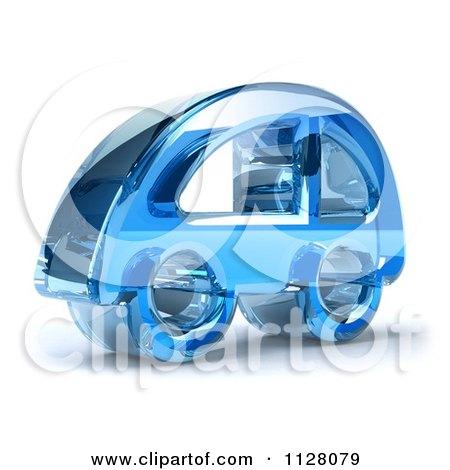 Clipart Of A 3d Blue Glass Car Icon - Royalty Free CGI Illustration by Julos