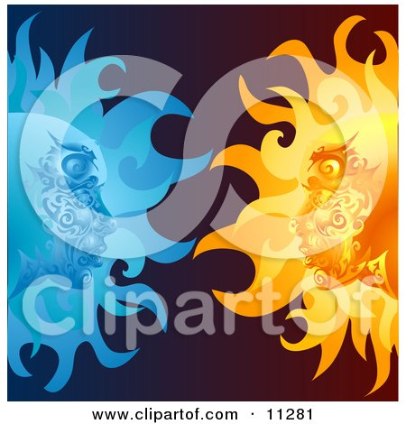Opposites Attract, Faces in the Sun and Moon Staring at Eachother Clipart Illustration by AtStockIllustration