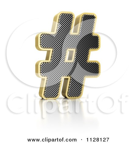 Clipart Of A 3d Gold Rimmed Perforated Pound Hashtag - Royalty Free CGI Illustration by stockillustrations